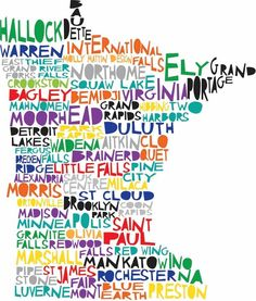 Cool Minnesota State Map Glossy Poster Picture Photo Vikings Twins 2131