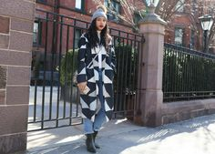 //// Phil Oh's Best Street Style Pics From New York Fashion Week Fall 2016 //// Hannah Bronfman in a Mara Hoffman coat and Adriana Castro bag