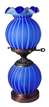 Fenton Art Glass - 16 Preferred Second Cobalt Spiral Optic Mini Gone with the Wind Lamp with 6 point crimp Fenton Lamps, Fenton Glassware, Antique Oil Lamps, Vintage Lamps, Vintage Lighting, Fenton Milk Glass, Cobalt Glass, Cobalt Blue, Victorian Lamps