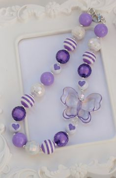 Chunky Style Purple Butterfly Necklace, Purple butterfly necklace, butterfly, gumball necklace on Etsy, $15.00