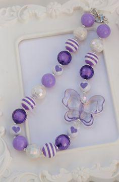 Chunky Style Purple Butterfly Necklace, Purple butterfly necklace, butterfly, gumball necklace on Etsy, $15.00