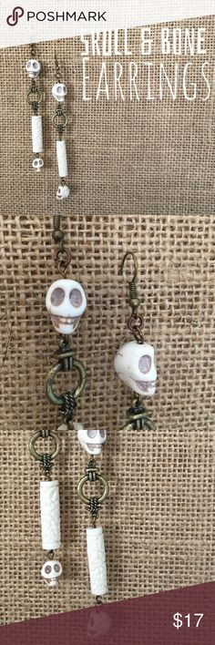 Skull & Bones Long Diva Dangle Earrings Made by the hands of a hippie. Please see my other listings for other pieces I've created. I'm happy to discount bundles💋 The Retro Hippie Jewelry Earrings