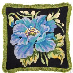 blue poppy needlepoint