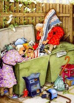 """ Inge Look. Another Treasure!"" Artist: Inge Look. Dumpster Diving, Old Folks, Pics Art, Old Women, Getting Old, Lady, Illustrators, Illustration Art, Art Illustrations"