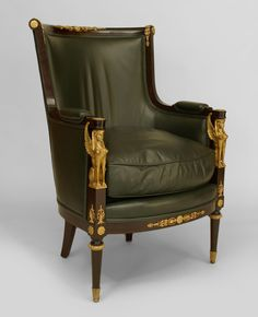 French Empire style Cent) mahogany bergeres with round back and bronze trim with sphinx heads on arms and upholstered in dark green leather Italian Furniture, French Furniture, Classic Furniture, Furniture Styles, Luxury Furniture, Antique Furniture, Victorian Sofa, Empire Furniture, French Empire