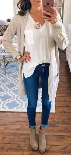 Women Clothing ladies gray long sleeved cardigan   ladies    fallwomenclothing Women ClothingSource   Damen graue langärmlige Strickjacke  by 58af27269f