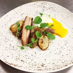 Smoked Honey Glazed Pork Belly, Sous Vide Egg, Chamomile Boiled Red Onion, Campfire Potatoes, Watercress. Food Pictures, Food Pics, Campfire Potatoes, Michelin Star Food, Glazed Pork, Honey Glaze, Molecular Gastronomy, Exotic Food, Sous Vide