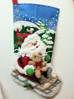 "18"" Completed Hand Sewn Bucilla Christmas Stocking Santa's Sled"