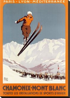 Chamonix Mont Blanc Charles-Jean Hallo Skiing Art Ski Travel Ad Poster Mounted Canvas Vintage French Advertising Giclee Print