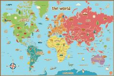 This world map is especially suited to kids, with fun graphics, easy to read tags and bright colors. Our peel and stick kids world map decal is also dry-erase. Your kids will love learning about the world and making their own notes on this giant map, Power Trip, Design Shop, World Map Wall Decal, Dry Erase Wall, Modern Wall Decals, Kids World Map, Giant World Map, Wall Appliques, Maps For Kids