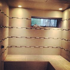 Chadds ford spa bathroom in progress- Updated with glass tile inserts installed.   #design #spa #bathroom #tile #interiordesign