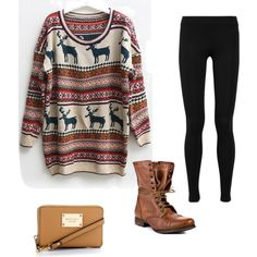 Moose Sweater! Leggings, lace boots and comfy over sized sweater, cute purse you can't go wrong. I am Canadian after all :)