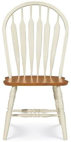 Windsor Dining Chair - Solid Wood Arrow-Back Style (Pearl/Oak) x x Painted Dining Chairs, Windsor Dining Chairs, Dining Table Chairs, Dining Furniture, Side Chairs, Cheap Table And Chairs, Cheap Dining Room Sets, Cool Chairs, Kitchen Islands For Sale