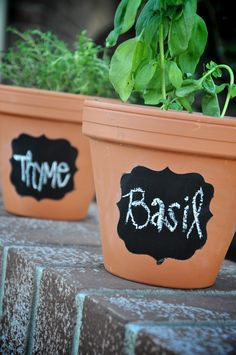 Chalkboard Paint + Gardening Pots