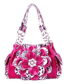 Pink Leopard Flower Rhinestone Pockets Purse Handbag