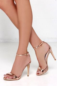 Steve Madden Stecy Rose Gold Ankle Strap Heels