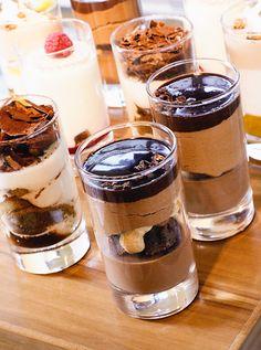 Chocolate desserts in glasses