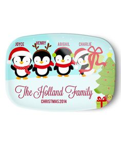 Look what I found on #zulily! Christmas Four-Penguin Family Personalized Platter by Avery & Ethan #zulilyfinds