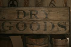 Primitive Early Look DRY GOODS Wooden sign. $70.00, via Etsy.