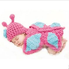 Baby Newborn  Knit Crochet Handmade Butterfly Clothes Photo Outfits Sets