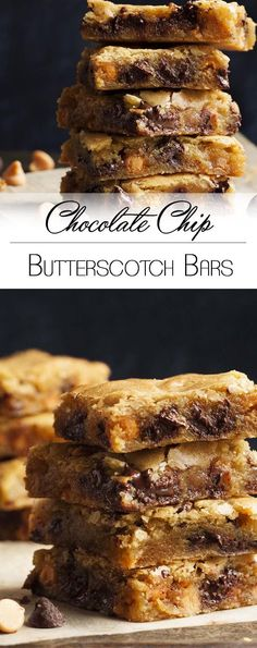 Chocolate Chip Butterscotch Bars Just a Little Bit of Bacon Chocolate Chip Butterscotch Bars These one bowl bars have all the comfort of an old-fashioned butterscotch bar and the added pleasure of gooey chocolate chips in every bite Cookie Desserts, Just Desserts, Dessert Recipes, Bar Recipes, Cream Recipes, Healthy Desserts, Chip Cookies, Cookies Et Biscuits, Sweets