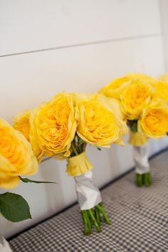 Brilliant Yellow Bouquets | Beautiful for a Summer Wedding | See the wedding on SMP: http://www.StyleMePretty.com/new-england-weddings/2014/01/16/rustic-meets-modern-wedding-at-the-barn-at-walnut-hill/ Becca Wood Photography