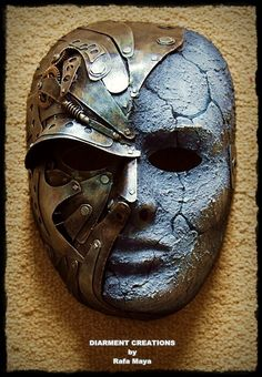 Steampunk Metal Stone Mask  Handmade,  Size: full face.  Materials: cardboard, plastic, recycled parts and paint.