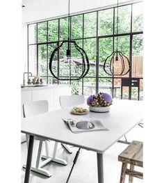HK-living Hanglamp LAB XL zwart metaal 36x36x32cm - wonenmetlef.nl