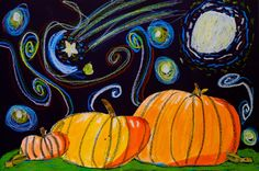 """Mr. O's Art Room: 2nd Grade """"Starry Night in the Pumpkin Patch"""""""