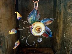 Suzanne's Art Glass: Venus Garden Flower - Lampwork, Enameled Necklace