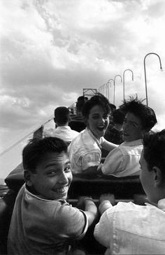 Cyclone first Climb, Coney Island, 1957. Photo by Harold Feinstein. #joy #immediacy