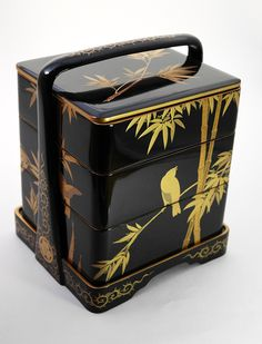 Japanese Stacking Black Lacquer Boxes