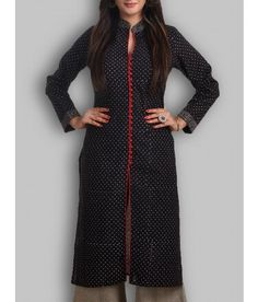 Ajrakh  Block Printed Black Kurti With red buttons