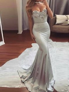 Unique Mermaid Sweetheart Sweep Train Silver Elastic Satin Prom Dress with Beading2018promdresses#promdress#graduationdress#eveningdress#dress#dresses#gowns#partydress#longpromdress