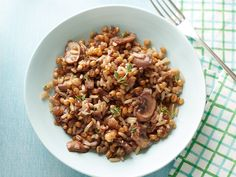 Mushroom Wheat Berry Pilaf Recipe : Alton Brown // I ate a barley and wheat berry risotto the other night that blew my mind and now I'm on a mission to make something similar.