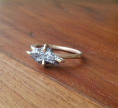 rough diamond ring-raw diamond ring-gold plated rough diamond ring. $80.00, via Etsy.