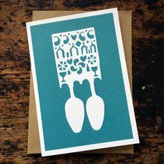 Lovespoon card, aqua £2.50