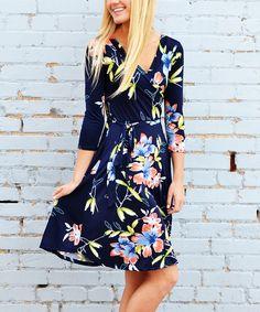 Look at this #zulilyfind! Navy Floral Surplice Dress by So Perla #zulilyfinds