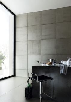SMOOTH CONCRETE tiles by Sai Industry; love these used as a wall surface (LL) YV: love these tiles, imagine the feel is a soft touch.