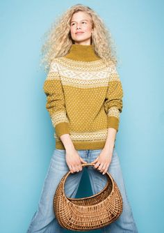 Ravelry: Tema pattern by Sandnes Design Fair Isle Knitting Patterns, Sweater Knitting Patterns, Vintage Knitting, Free Knitting, Norwegian Knitting, Icelandic Sweaters, Textiles, Fashion Poses, How To Purl Knit