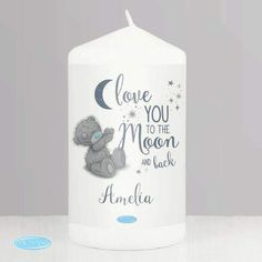 This Me to You 'Love You to the Moon and Back' Pillar Candle is the perfect gift to show someone how much you care.You can personalise this Me to You candle with any name up to 12 characters.'Love you to the moon and back' is fixed text.Due to the nature of this product and the font type used please refrain from using