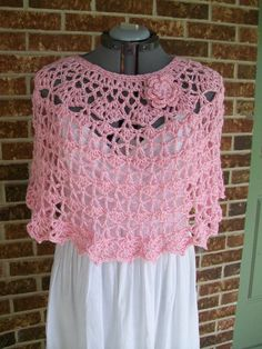 Lacy Crochet Ladies Capelet, Poncho, Cover Up, Shawl, Shoulder Wrap, Stole, Sweater, Top- in Soft Pink