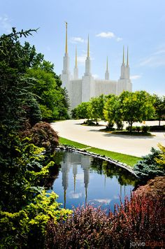 Washington DC LDS Temple - Mid Summer day With reflection in water feature