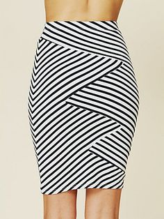 Striped Bodycon Skirt