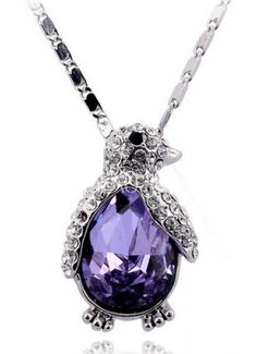 Cute Necklace With Purple Austria Crystal Penguin Pendant $36.49. Kinda expensive but GORGEOUS!!!!!!!!!!!!!!!!