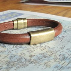 Dude Leather Bracelet for Men Thick Brown w by moonjigjewelry, $36.50