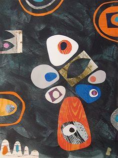 Original retro mid century style cut paper fine art collage black orange blue £65.00