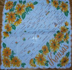 Kansas state map + yellow sunflowers [handkerchief / scarf]