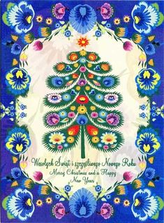 Polish Folk Christmas Card - Wycinanki Decorated Tree