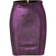 BALMAIN Metallic Skirt in Violet featuring polyvore, fashion, clothing, skirts, mini skirts, bottoms, balmain, jupe, stretch mini skirt, rayon skirt, purple mini skirt and stretchy skirts